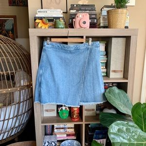 LOFT Wrap Denim Skirt